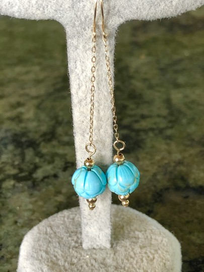 SeaglassGemsbyCherie Sleeping Beauty Turquoise 14k Gold Beaded Earrings 2 Inch Drops New Image 1