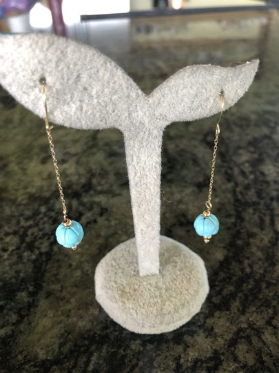 SeaglassGemsbyCherie Sleeping Beauty Turquoise 14k Gold Beaded Earrings 2 Inch Drops New Image 3