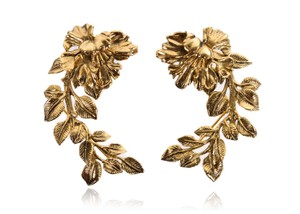 Roberto Cavalli Roberto Cavalli Gold Metal Black Etched Floral Earring Cuffs J255