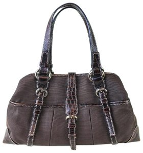 Céline Croc Leather Satchel in Brown
