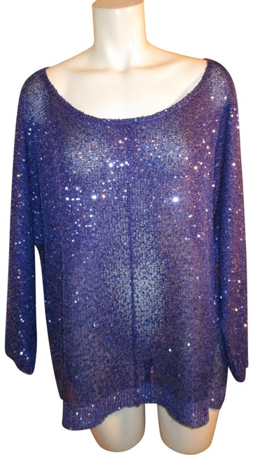 Preload https://img-static.tradesy.com/item/24389065/dkny-sequined-34-sleeve-purple-sweater-0-1-650-650.jpg
