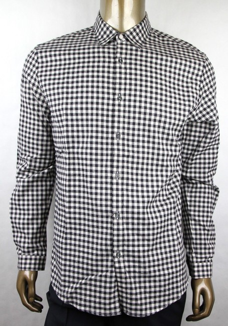 Item - Black/Off White Cotton Checkered Brushed Vichy Duke 38/15 406434 1960 Shirt