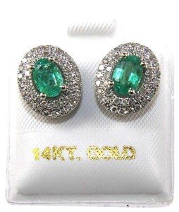 Other Oval Green Emerald & Diamond Halo Stud Earrings 14K White Gold 1.40Ct