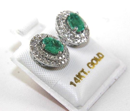 Other Oval Green Emerald & Diamond Halo Stud Earrings 14K White Gold 1.40Ct Image 1