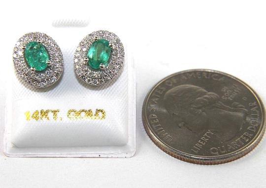 Other Oval Green Emerald & Diamond Halo Stud Earrings 14K White Gold 1.40Ct Image 2