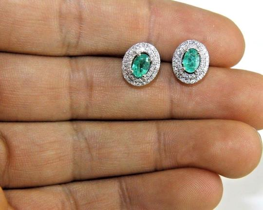 Other Oval Green Emerald & Diamond Halo Stud Earrings 14K White Gold 1.40Ct Image 3