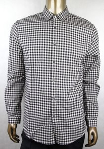 Gucci Black/Off White Cotton Checkered Brushed Vichy Duke 44/17.5 406434 1960 Shirt