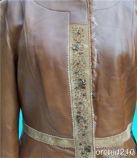 Cache Brown Camel Leather Jacket Image 2