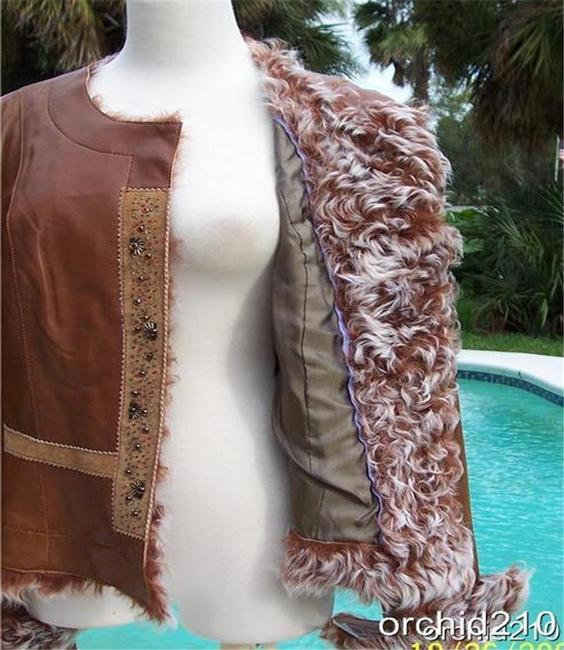 Cache Brown Camel Leather Jacket Image 3