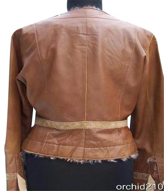 Cache Brown Camel Leather Jacket Image 4