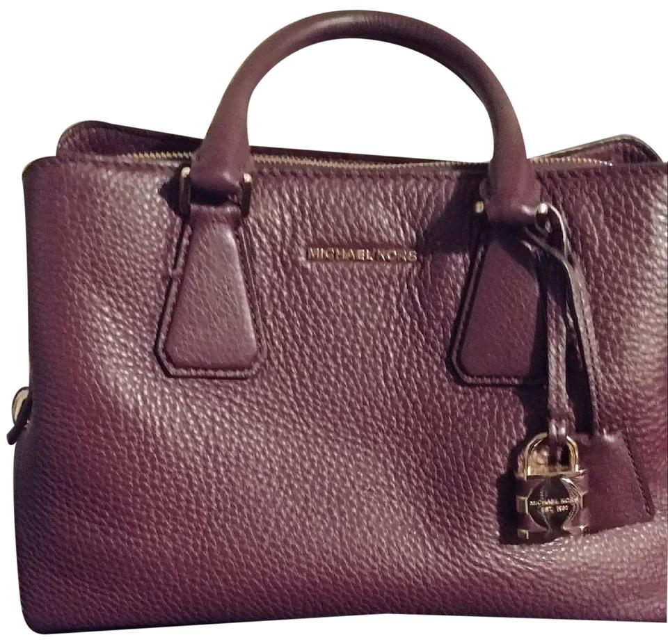 148816d131 Michael Kors Medium Satchel. Has Extra Strap To Carry As Plum Purple  Leather and Peebled. Cross Body Bag