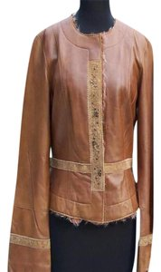 Cache Brown Camel Leather Jacket