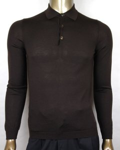 Gucci Dark Brown Cashmere Long Sleeve Polo Sweater S 244900 2060 Groomsman Gift