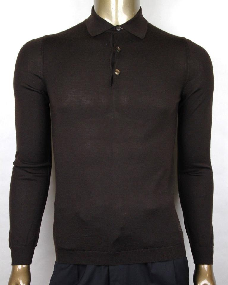 53fe61f28 Gucci Dark Brown Cashmere Long Sleeve Polo Sweater S 244900 2060 Groomsman  Gift Image 0 ...