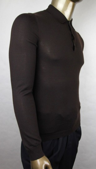 Gucci Dark Brown Cashmere Long Sleeve Polo Sweater M 244900 2060 Groomsman Gift Image 1
