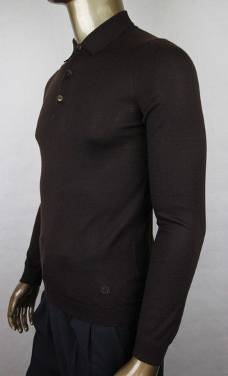 Gucci Dark Brown Cashmere Long Sleeve Polo Sweater M 244900 2060 Groomsman Gift Image 2