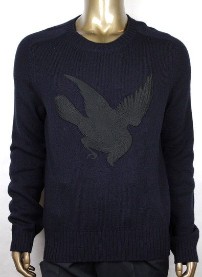Gucci Blue W Men's Wool Cashmere Sweater W/Bird Patch M 430077 4265 Groomsman Gift Image 0