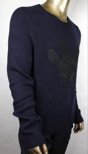 Gucci Blue W Men's Wool Cashmere Sweater W/Bird Patch M 430077 4265 Groomsman Gift Image 1