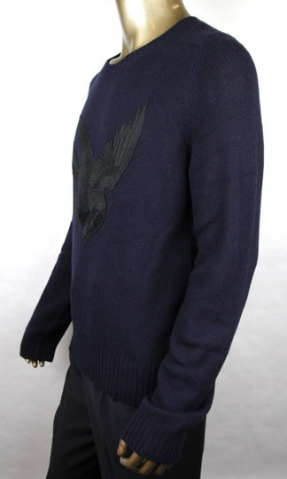 Gucci Blue W Men's Wool Cashmere Sweater W/Bird Patch M 430077 4265 Groomsman Gift Image 2