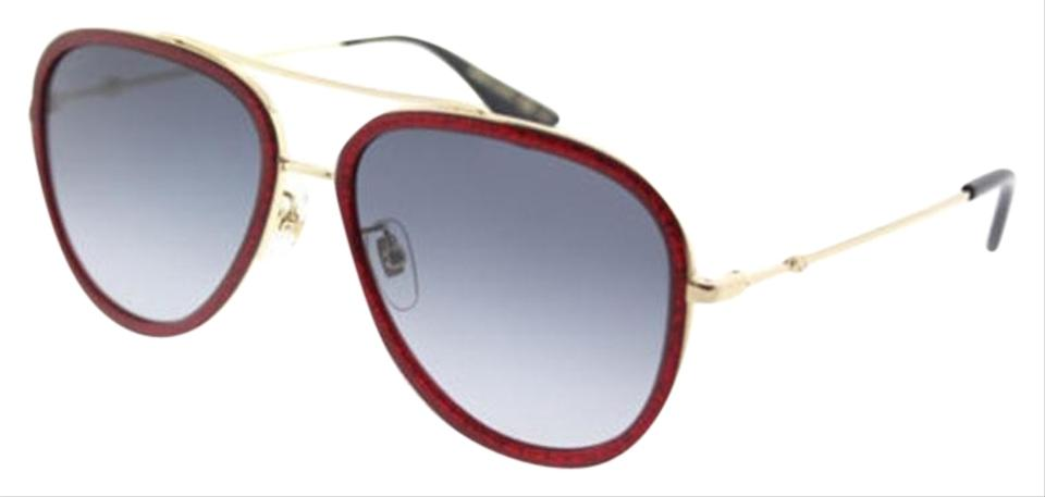 dd52568537af6 Gucci Red Gold Frame   Blue Gradient Lens Gg0062s 005 Round Style ...