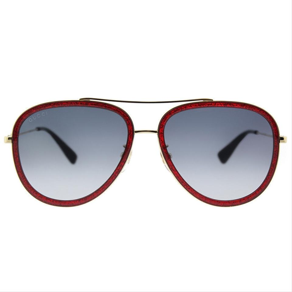 8aa3a1c29a7f6 Gucci Red Gold Frame   Blue Gradient Lens Gg0062s 005 Round Style ...