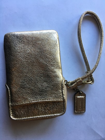 Coach Leather Wallet Wristlet in Gold Image 1