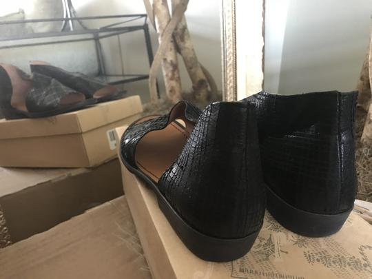 Free People Leather Open Black Snake Flats Image 2