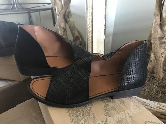 Free People Leather Open Black Snake Flats Image 4