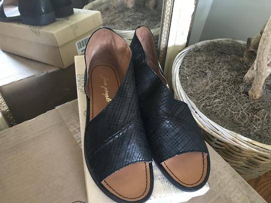 Free People Leather Open Black Snake Flats Image 5
