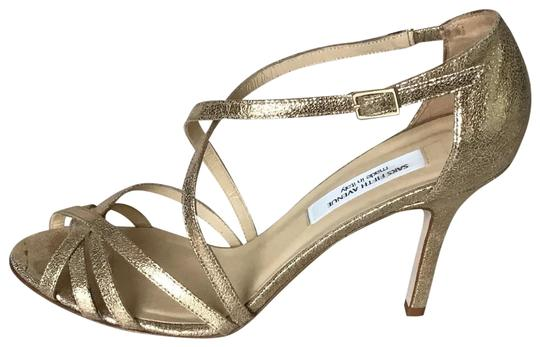 Saks Fifth Avenue Made In Italy Gold/Crinkle Suede Formal Image 0