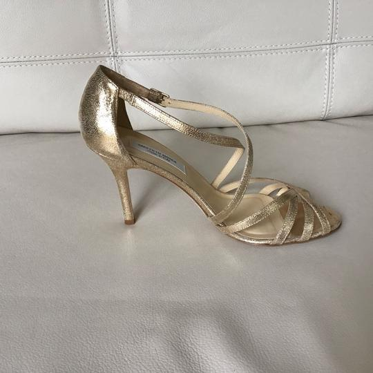 Saks Fifth Avenue Made In Italy Gold/Crinkle Suede Formal Image 1