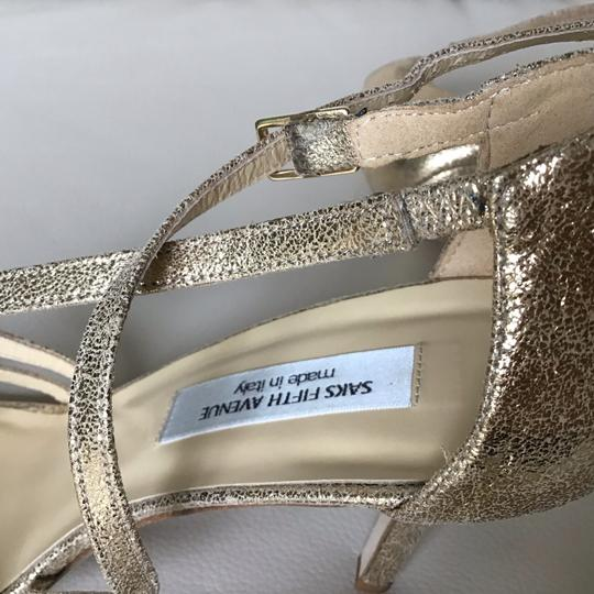 Saks Fifth Avenue Made In Italy Gold/Crinkle Suede Formal Image 11