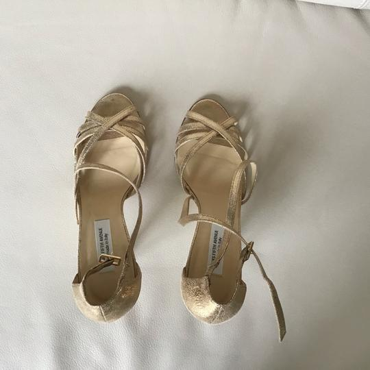 Saks Fifth Avenue Made In Italy Gold/Crinkle Suede Formal Image 4