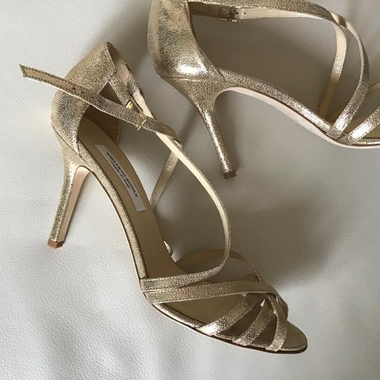 Saks Fifth Avenue Made In Italy Gold/Crinkle Suede Formal Image 6