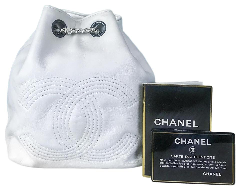98ad196a590387 Chanel Mini White Leather Backpack - Tradesy