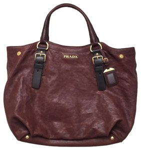 Prada Chevre Cervo Lambskin Celebrity Tote in Chestnut Brown