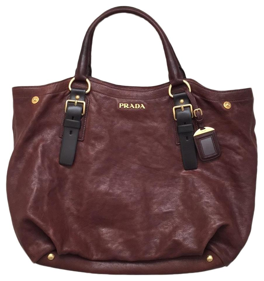 1480daff6a Prada Napa Chestnut Brown Leather Tote 57% off retail