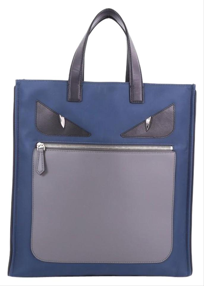Fendi Monster and Leather Blue Nylon Tote - Tradesy 45810ced63