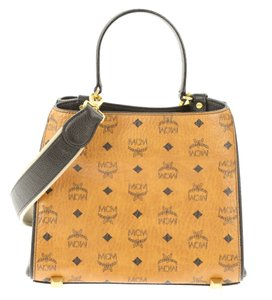MCM Monogram Tote Satchel in Brown