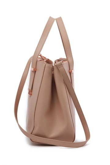 Ted Baker Aminaa Adjustable Handle Shopper Tote Leather Satchel in MInk Beige Image 2