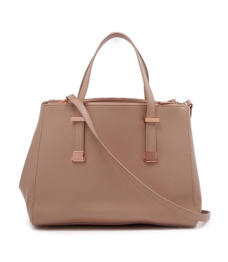 Ted Baker Aminaa Adjustable Handle Shopper Tote Leather Satchel in MInk Beige Image 3