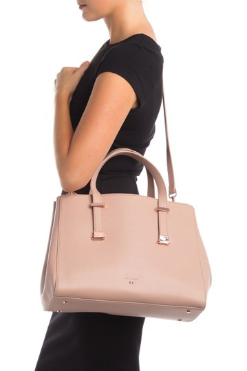 Ted Baker Aminaa Adjustable Handle Shopper Tote Leather Satchel in MInk Beige Image 4