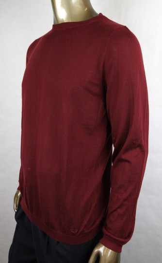 Gucci Wine Red XL W Men's Cashmere W/Gg Emblem Pullover Sweater 369065 6215 Groomsman Gift Image 2