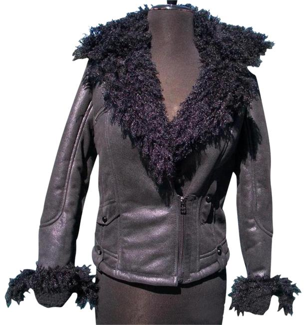 Item - Black Shearling Moto Jacket Sleeve Zippers New Bomber Suede 4/6 S Coat Size 4 (S)