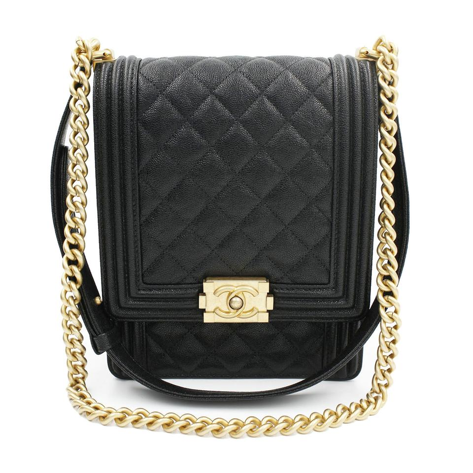 e8e915b24acc Chanel Boy Classic Flap Gold-tone Metal Leather As0130 Black ...