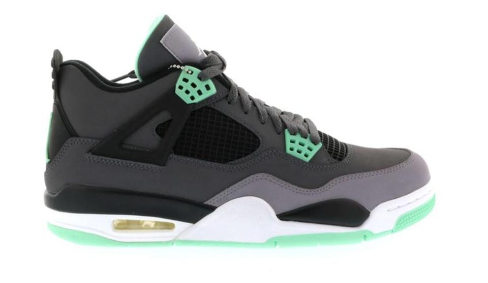half off c80ff 58505 Nike Dark Grey Green Glow Cement Grey Air Jordan 4 Retro Sneakers Size US 6  Regular (M, B) 60% off retail