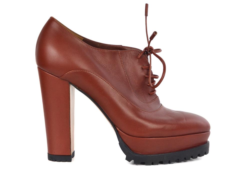 6b7027263605 Gianvito Rossi Brown Women s Red Leather Lace Up Platform Boots ...