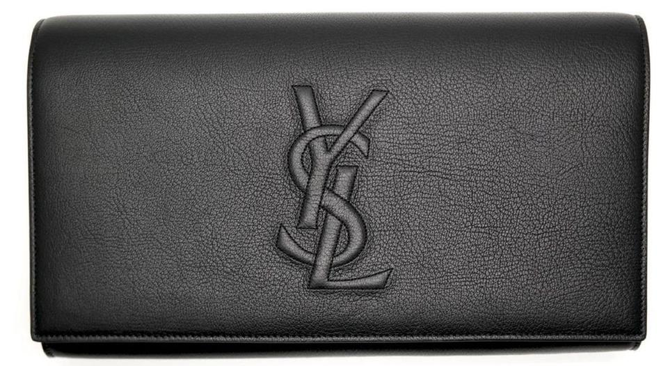 326cbccf44 Saint Laurent Belle de Jour Ysl Yves Large Black Leather Clutch ...