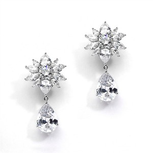 Mariell Bold Cz Floral Cluster Earrings With Pear Drops For Weddings Or Bridals 4280e