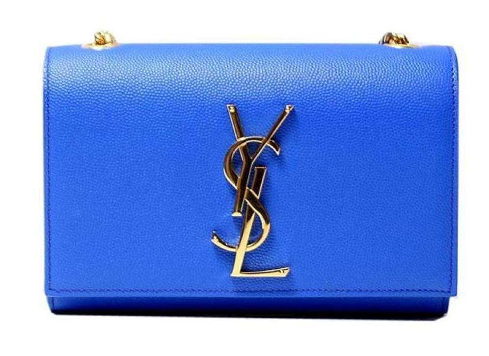 0ad62b70247 Saint Laurent Monogram Kate Ysl Gold Hardware Cross Body B Blue Leather Shoulder  Bag
